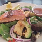 Delicious salmon salad.    Soups coffee. A must to taste while on the island.  Th locals know th