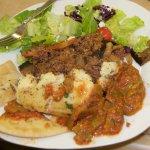 Moussaka, Salad, Green Bean Salad, Breads