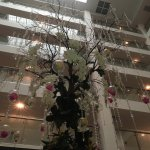 chandelier tree with flower baubles in the atrium