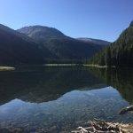 Lake next to cabins