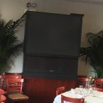 Good food but why this old tv. Not sure if this even works?!
