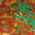 Vegan Pizza-Rocket, Caramelized onions and sweet peppers....yummy