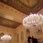 The chandeliers in the lobby