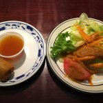 L-Spring roll with sweet and sour sauce, R- salad, ginger sauce (after dividing it up)