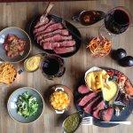 Sharing steaks!