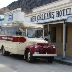 Our tour bus parked in Arrowtown