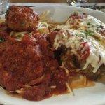 Eggplant parmesan & spaghetti with meatball