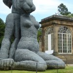 Another huge sculture of a hare with a human body made