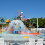 Sandy Harbor's Splash Zone features interactive water play for kids including a 400 gallon bucke