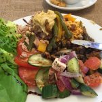 Roasted Vegetables, houmas with Salad