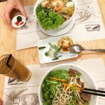 Nam Vang Noodle soup, Bun Bo Xao, Fresh Summer Rolls and Vietnamese Ice Tea