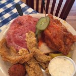 The three meat combo - comes with 2 sides - we had broccoli casserole & creamed corn. Yum!
