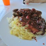 BBQ Baby Back Ribs with Mashed Potatoes and Spaghetti Squash