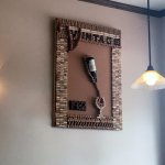 Interior art, very clever corks and a wine bottle
