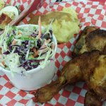 Crispy slaw, fried chicken, mashed potato with gravy, and those fine deviled eggs