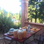 Breakfast overlooking the pool and grounds