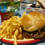 French dip burger meal