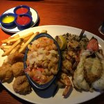 Lovely platter of seafood inc lobster and shrimp.