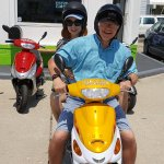 Taking the scooter over to Coastal Blue for a delicious lunch!!!