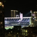 View of Petco Park from our room at night