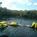 The Swim Park is located inside of Dream Lake, (an old rock quarry) has an average depth of 20'