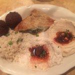 hummus, spanakopita, falafel, rice, baba ganoush