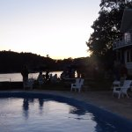 Sunset behind the pool and West Lodge