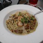 Scallop Pasta (*Celiac, D) local Scallops, roasted garlic, sun-dried tomatoes, mushrooms, onions
