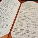 Tabletop dining menu