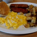 2 eggs scrambled, sausage links, hashbrowns, and biscuit