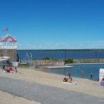 A 1 min walk from motel - beach offers waterslide, floating dock and kids splash pad pool(not sh