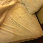 This is just ONE of the many stains on the beds in the rooms we booked.