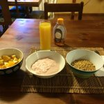 The healthy breakfast option. Fruit, yogurt, musli, juice.