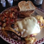 Philly Omelet with Sourdough bread and yummy hashbrowns