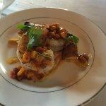 Shrimp on potato with corn relish
