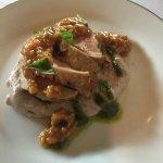 Pork tenderloin, blue grits, basil pesto