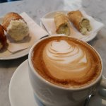 Cappuccino with cannoli, irresistable...