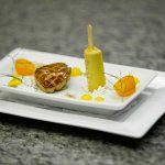 Pan Seared Quebec Foie Gras en Croute, Creamsicle Torchon with Fennel Seed Powder and Kumquat