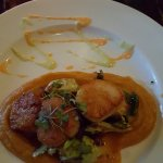 Scallops over Sweet Pot Puree with Brussel Sprouts