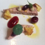 Rosé veal terrine with fermented and pickled cherries, foie gras parfait