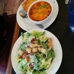 Salad with soup of the day with cornbread