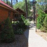 Walk between cabins to front door area
