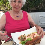 Lunch at the terrace -- huge lobster roll and healthy shrimp dish.