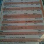 Backside of menu.