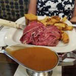 Open faced Pastrami and Corned Beef combo with derma and french fries. Gravy on side of course!