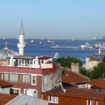 Zoomed shot of Bosphorus from terrace