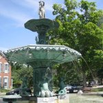 Wonderful old fountain divides the street
