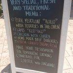 Sample menu board