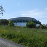 The circular cinema building with circular viewing promenade