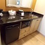Sink with microwave, mini-fridge and coffeemaker